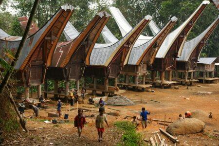 Maisons traditionnnelles Toraja en sulawesie