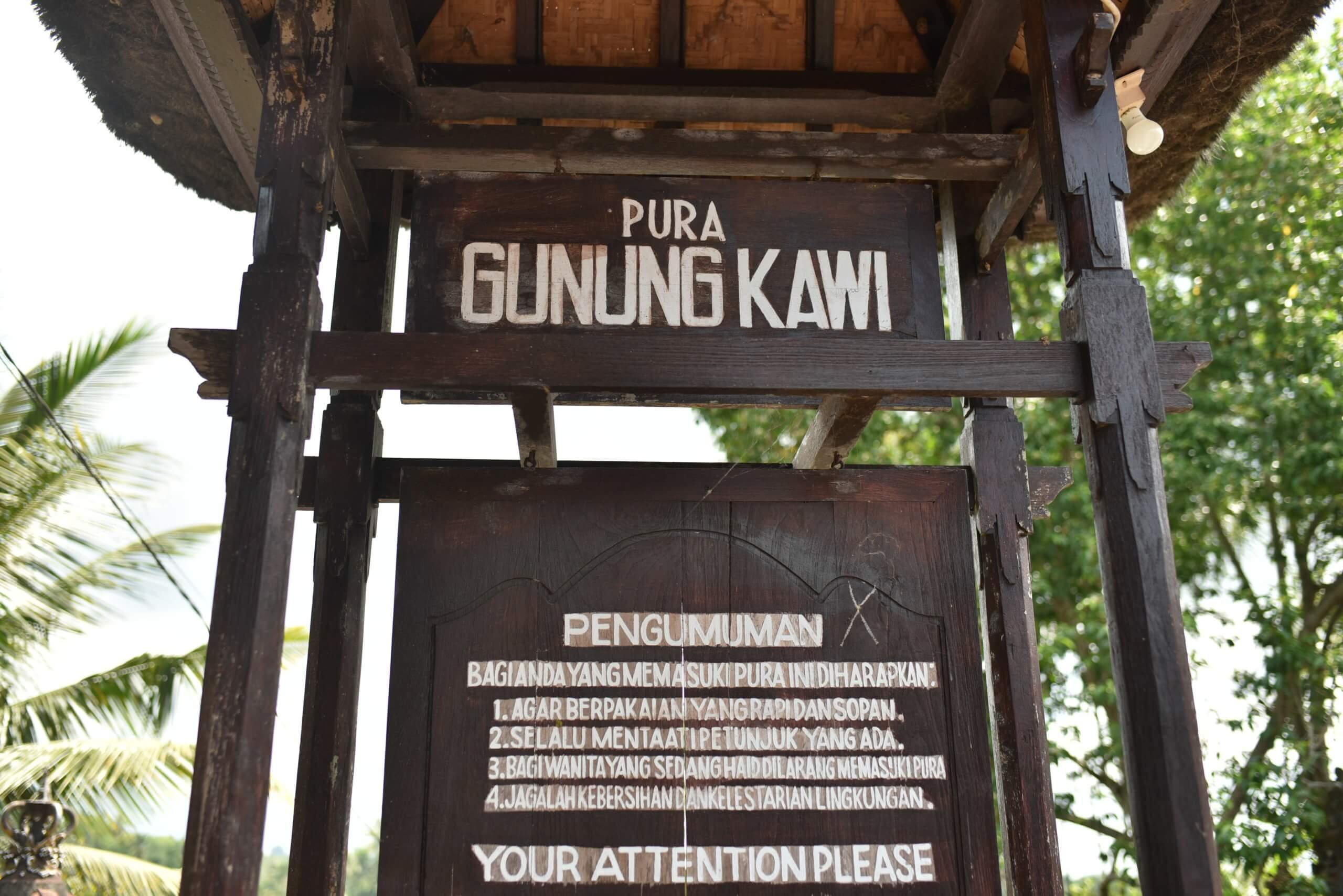 Descriptif a l'entrée du temple gunung kawi