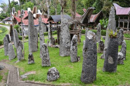 Jardin de Menhirs de Bori Kalimbuang dans le village de Sesean du Pays Toraja en Sulawesi
