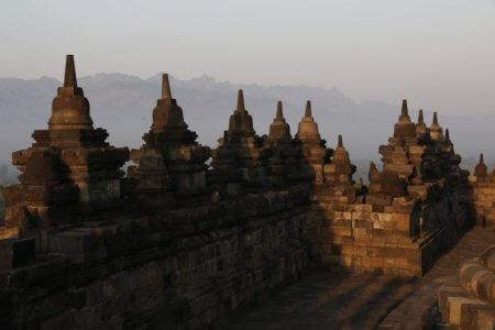 Indonesie lever du soleil au temple de Borobudur