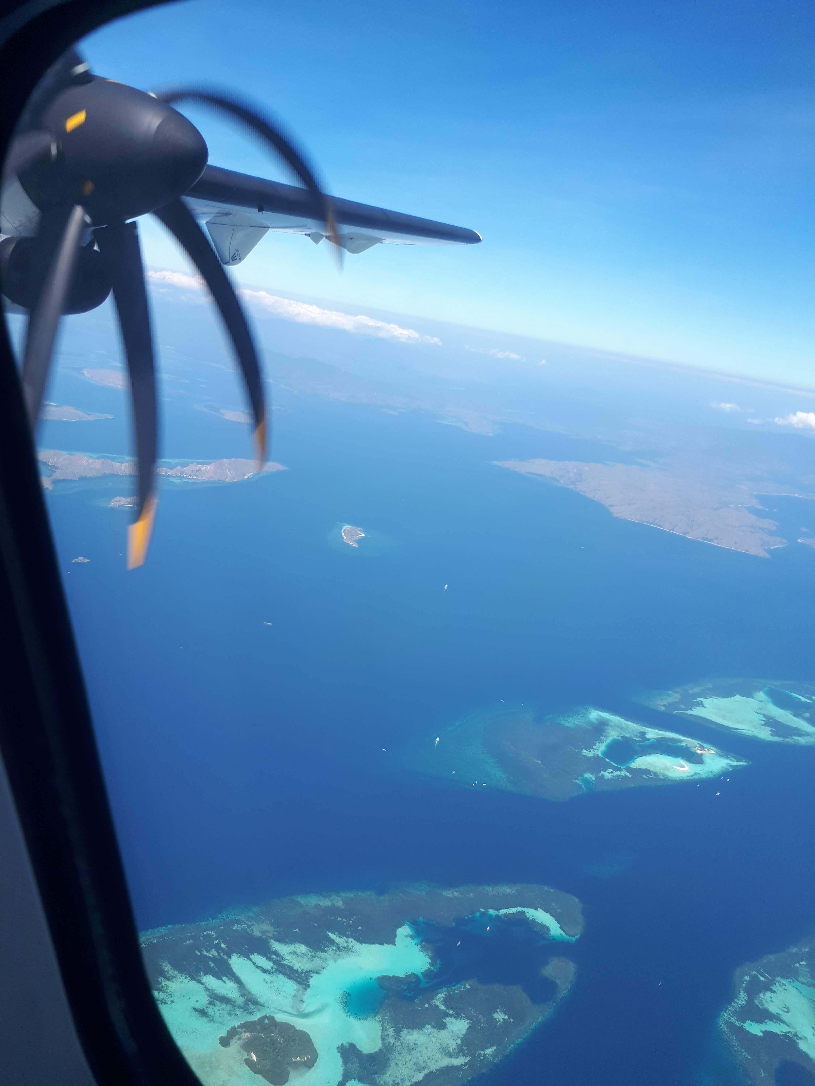 Vue aérienne du Parc national de Komodo à Flores