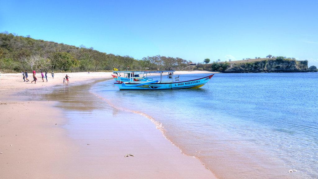 La plage rose de lombok
