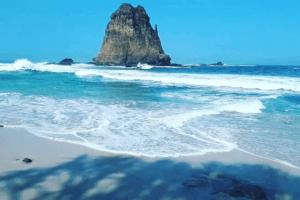 Un énorme rocher émergeant sur la plage de Papuma à Java